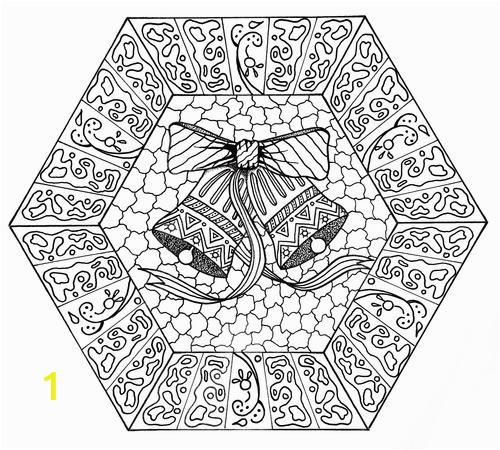 Jingle Bells Mandala Adult Coloring Page Smaller 500 ID