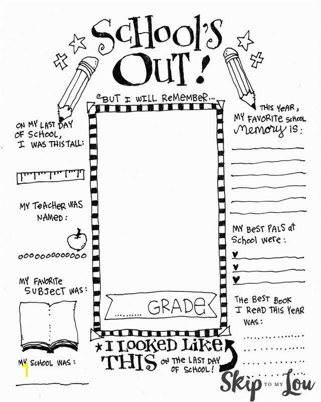 Coloring Pages for Last Day Of School End Of School Memory Printable Skip to My Lou