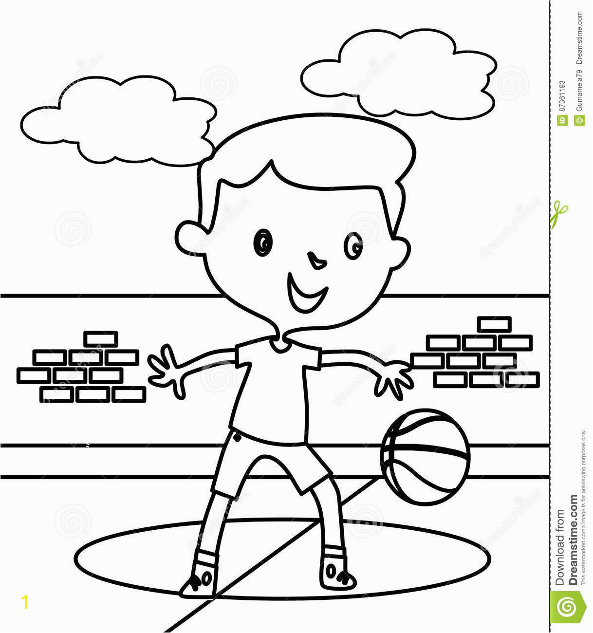 little boy playing basketball coloring page hand drawn cute kids