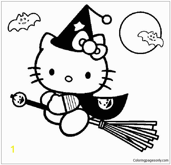 Coloring Pages Hello Kitty Halloween Hello Kitty Go to Play Halloween Coloring Page Free