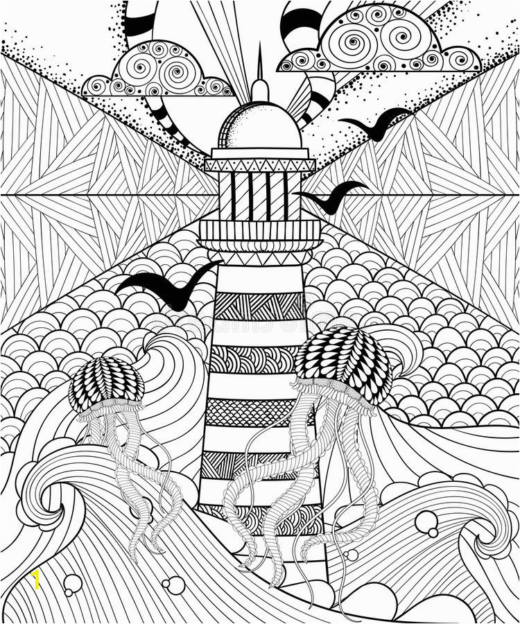 hand drawn adult coloring page artistically sea ethnic lig lighthouse patterned jellyfish ornamental clouds doodle