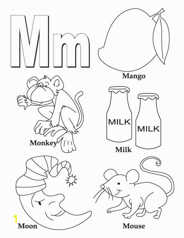 Coloring Pages Printable Letter M Letter M Coloring Worksheet