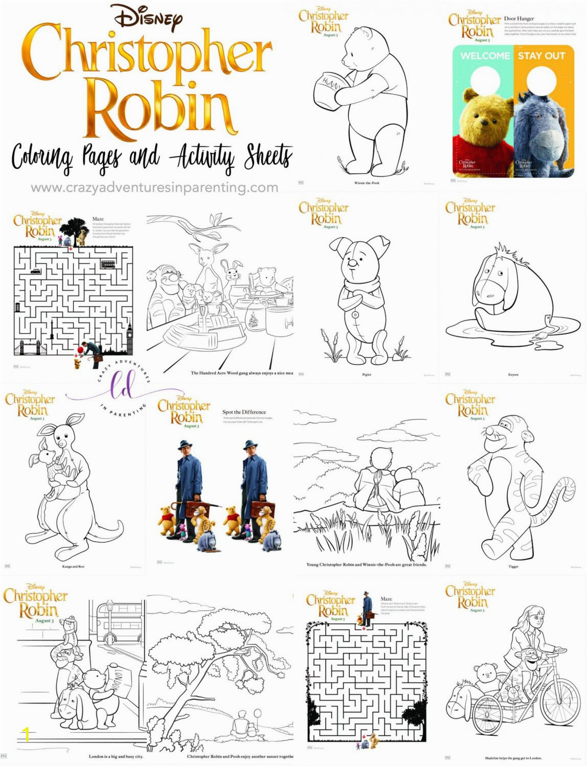 Christopher Robin Coloring Pages and Activity Sheets 1148x1500