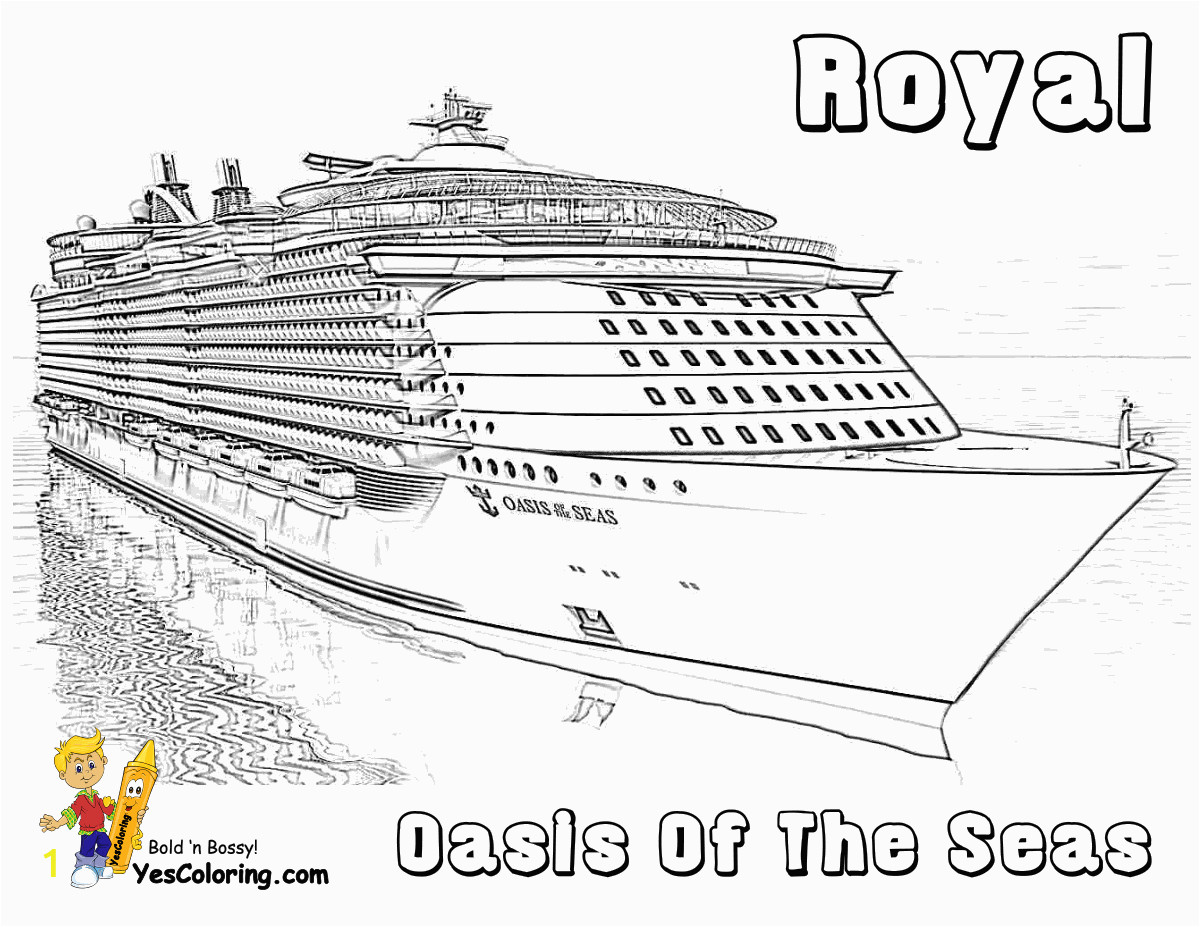 01 oasis of the seas cruise ship at coloring pages book for kids boys