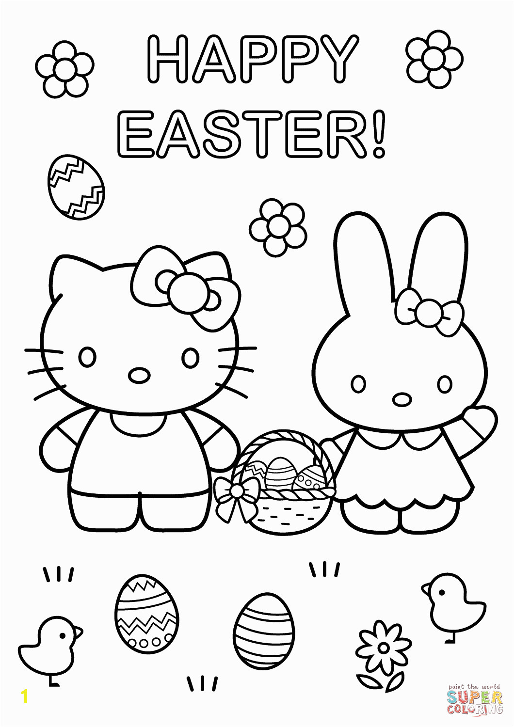 Easter Coloring Pages Hello Kitty Hello Kitty with Easter Bunny Coloring Page From Hello Kitty