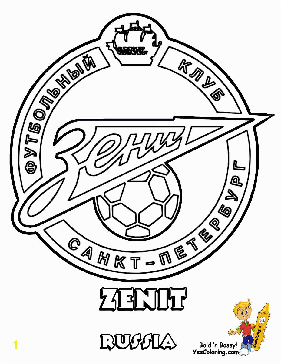 15 Zenit Football Soccer Futbol at coloring pages book for kids boys