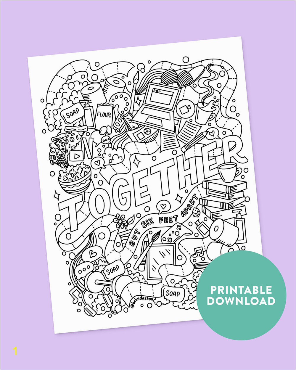 to her social distancing coloring page print