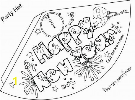 Free Printable New Years Coloring Pages Print Out Happy New Year Party Hat Coloring for Kids
