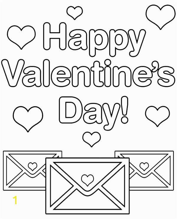 valentines day card coloring page happy