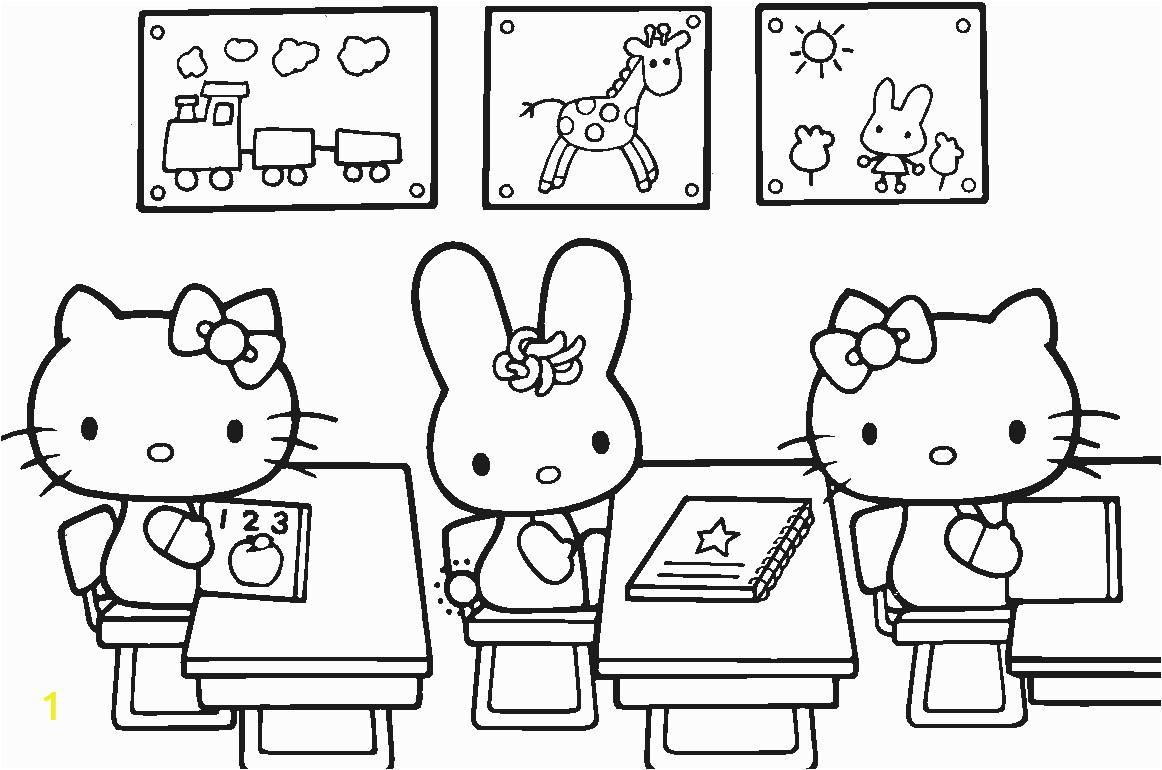 Hello Kitty School in September Coloring Page
