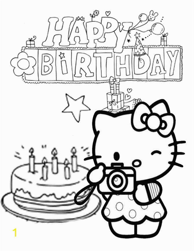 Hello Kitty Birthday Coloring Pages Free to Print ...