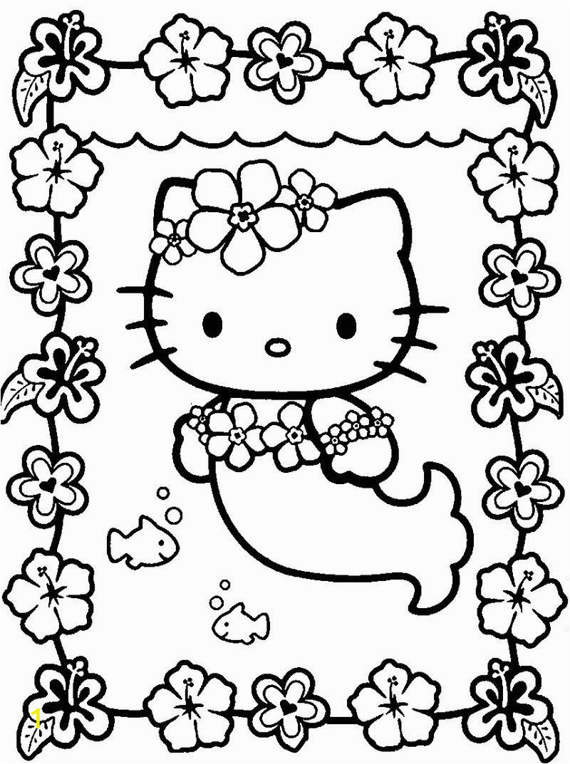 Hello Kitty Mermaid Coloring Pages Hello Kitty Mermaid Kawaii Coloring Page 001