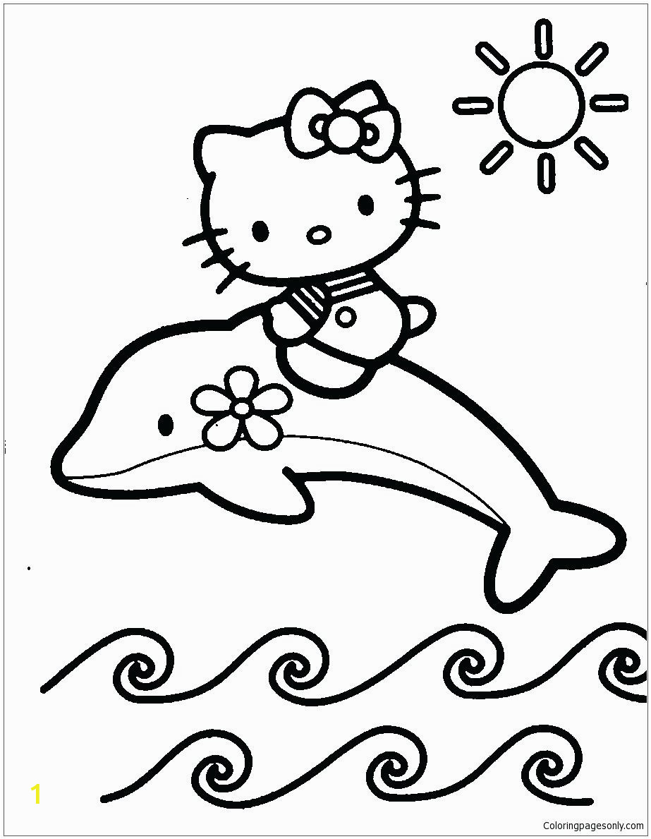 hello kitty with dolphin coloring page free pages pdf