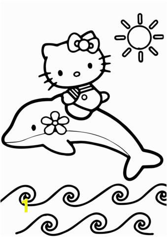 hello kitty rides a dolphin coloring page