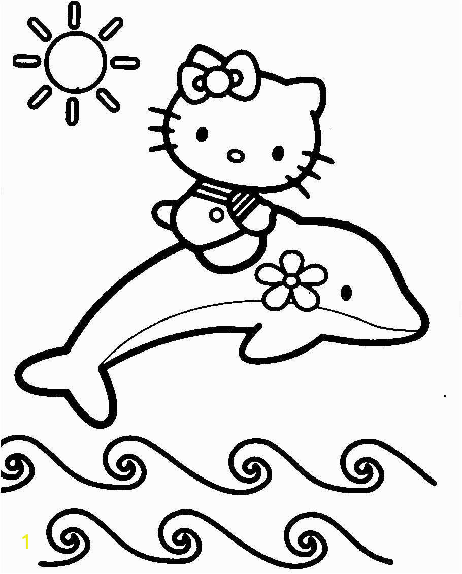 Hello Kitty with Dolphin Coloring Pages Hello Kitty with Dolphins Coloring Page