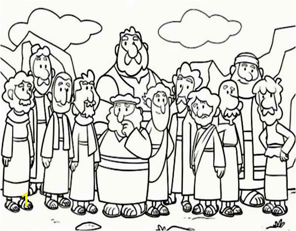 Cartoon od Jesus Disciples Coloring Page