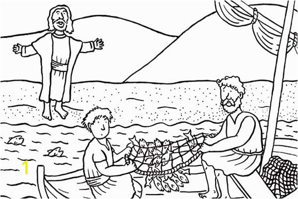 Disciples od Jesus Christ Catching Fish Coloring Page