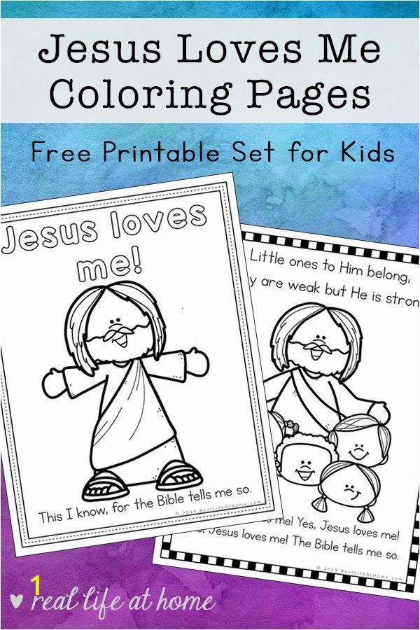 Jesus Coloring Pages Printable Free Jesus Loves Me Coloring Pages Free Printables Set for Kids
