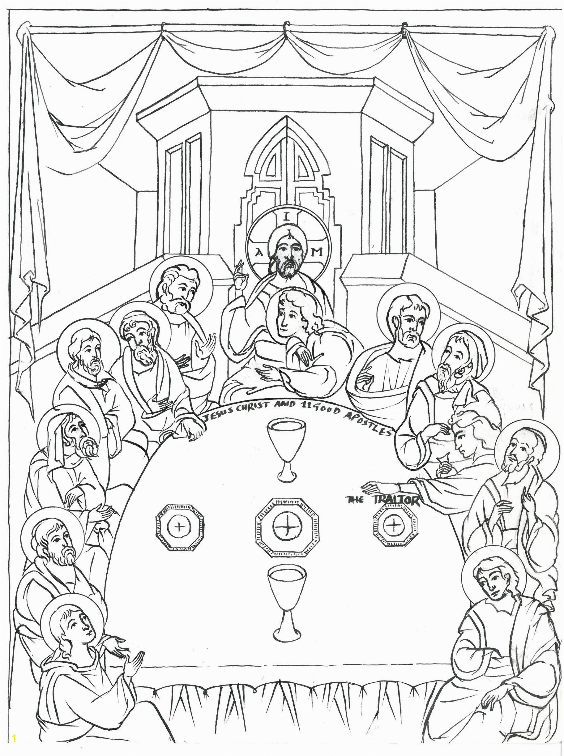 Last Supper Coloring Pages Printable Pin On Mosaic