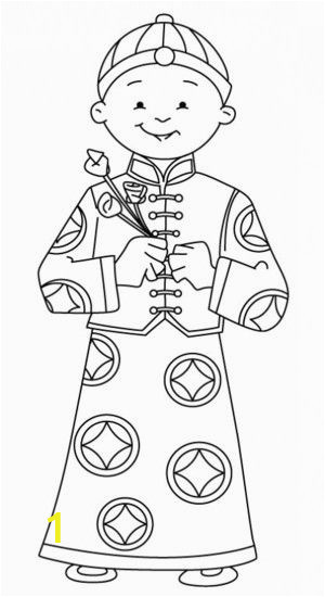 Printable Chinese New Year Coloring Pages A Young Boy Holding Flowers Say Happy Chinese New Year