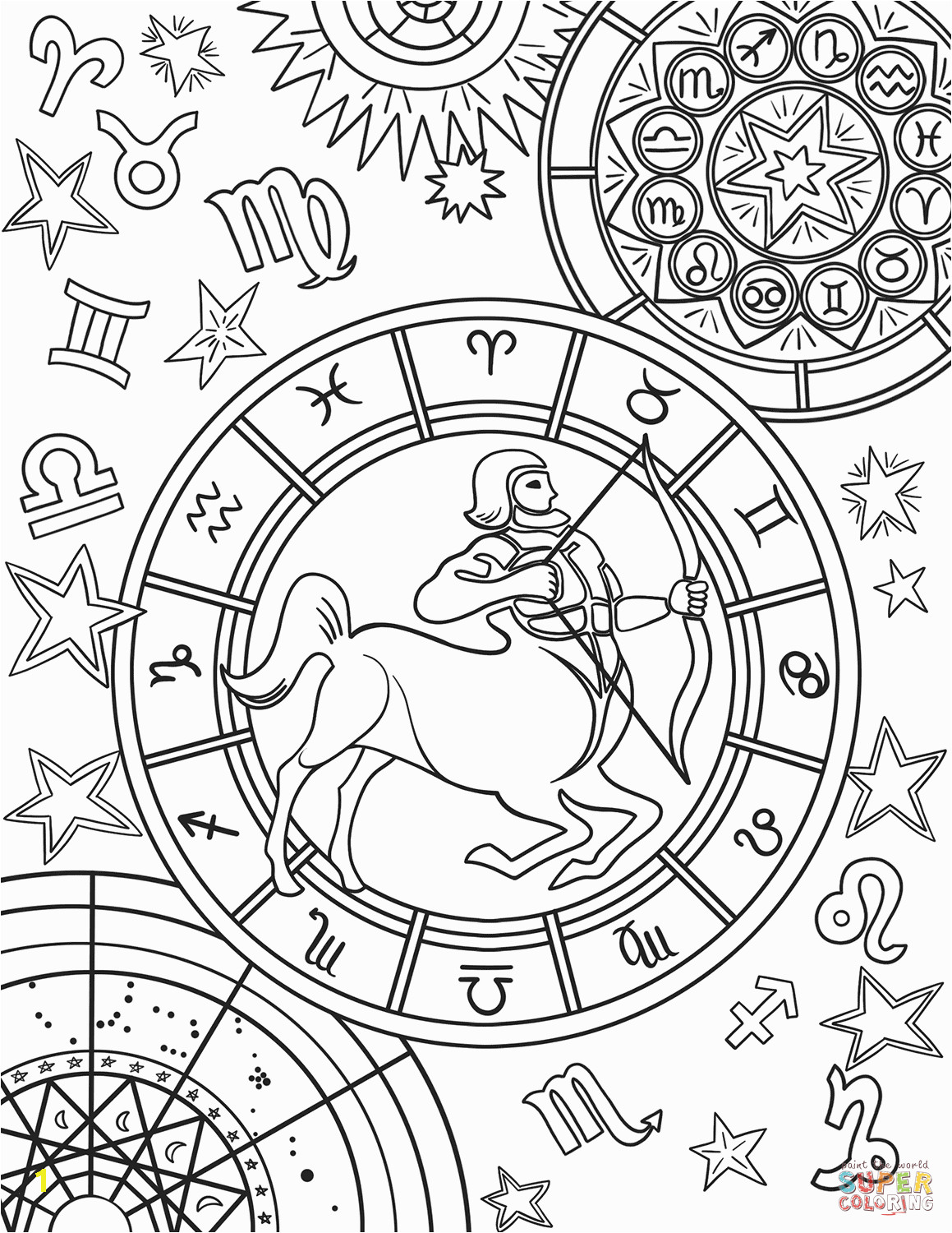 Printable Coloring Pages Zodiac Signs Sagittarius Zodiac Sign Coloring Page