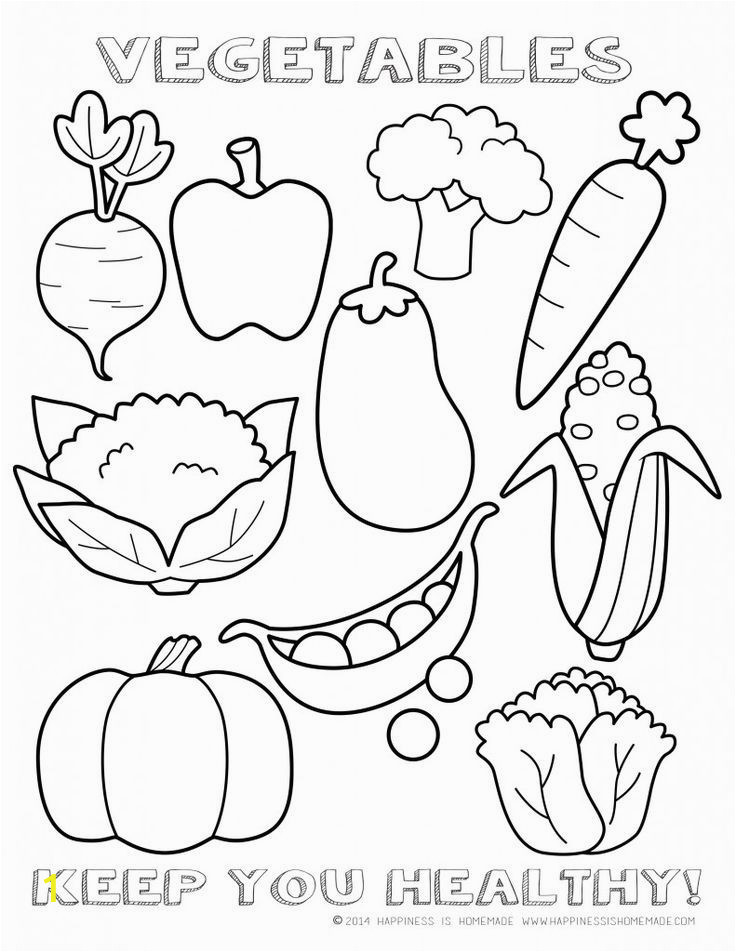 Printable Fruits and Vegetables Coloring Pages Healthy Ve Ables Coloring Page Sheet Fruit and Dairy