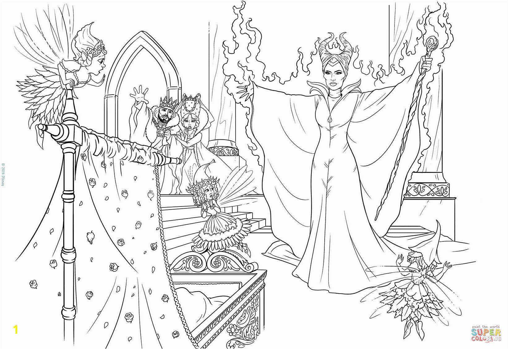 maleficent curses the infant princess coloring page