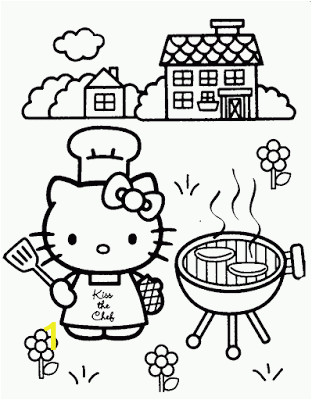 Thanksgiving Coloring Pages Hello Kitty Hello Kitty Bbq Coloring Page