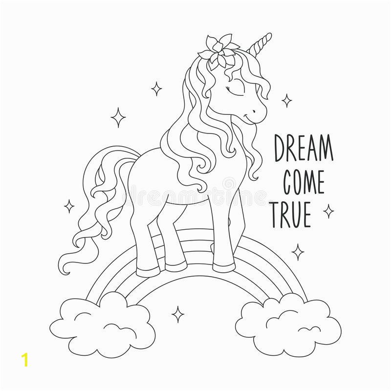 unicorn rainbow coloring pages dream e true text design kids fashion illustration drawing modern style unicorn