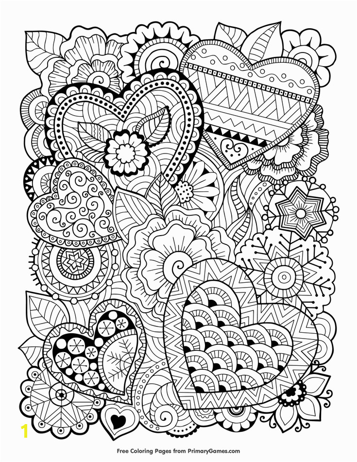 Valentines Day Coloring Pages for Adults Zentangle Hearts Coloring Page • Free Printable Ebook