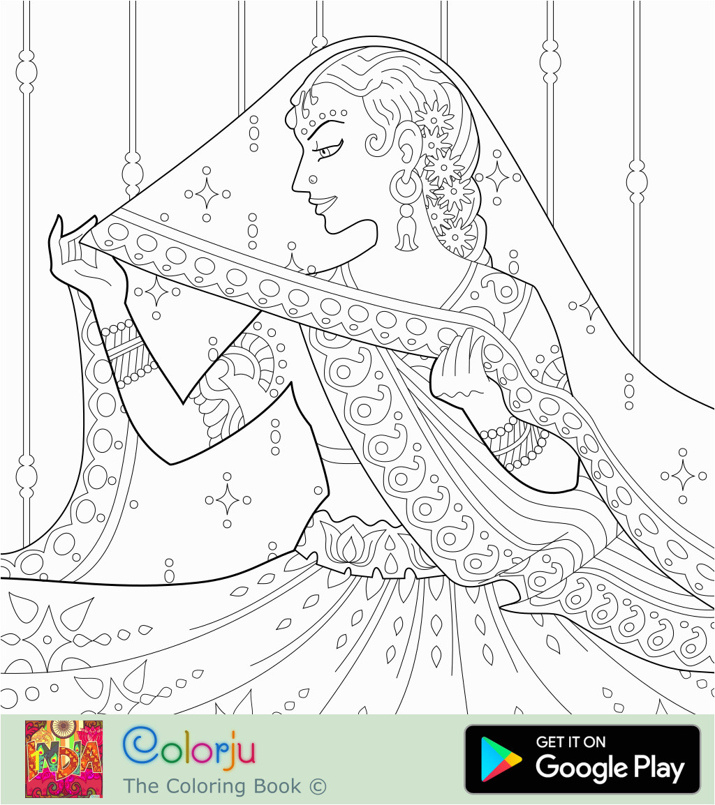 indian bride in saree coloring page colorju 4