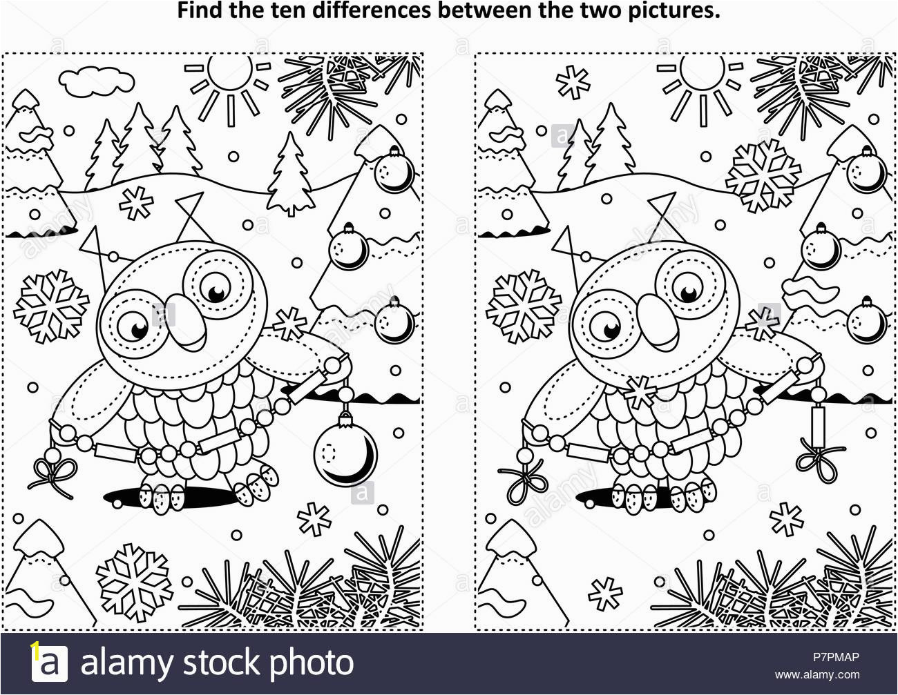 winter holidays new year or christmas themed find the ten differences picture puzzle and coloring page with owl holding glass beads garland P7PMAP