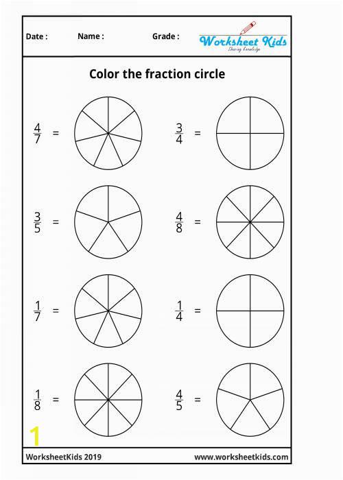 fraction circles coloring printable worksheets