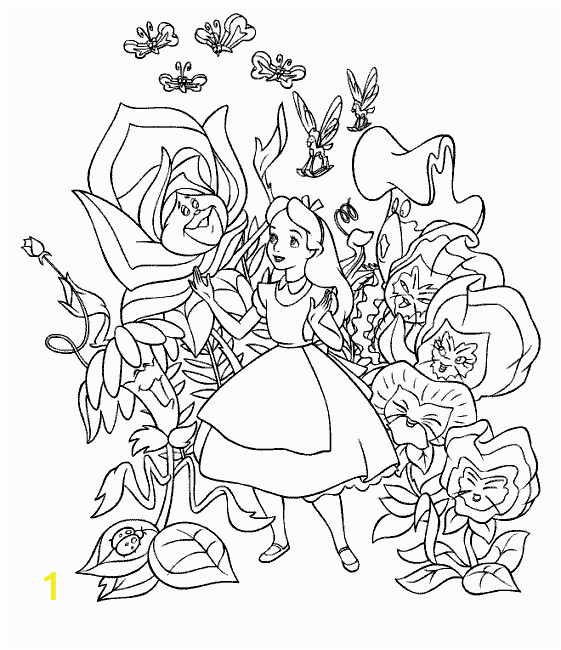 alice in wonderland coloring pages from