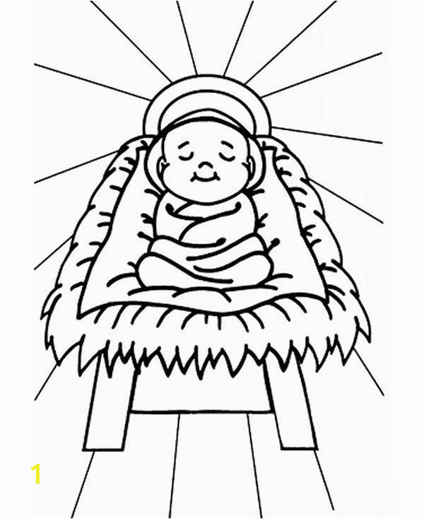 baby jesus sleep in a manger coloring page