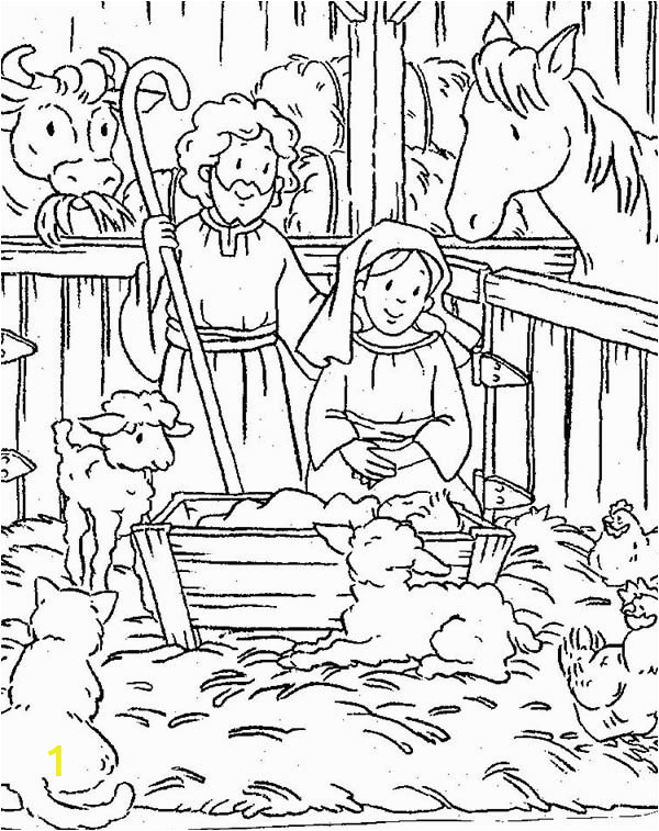 nativity of baby jesus in a manger coloring page