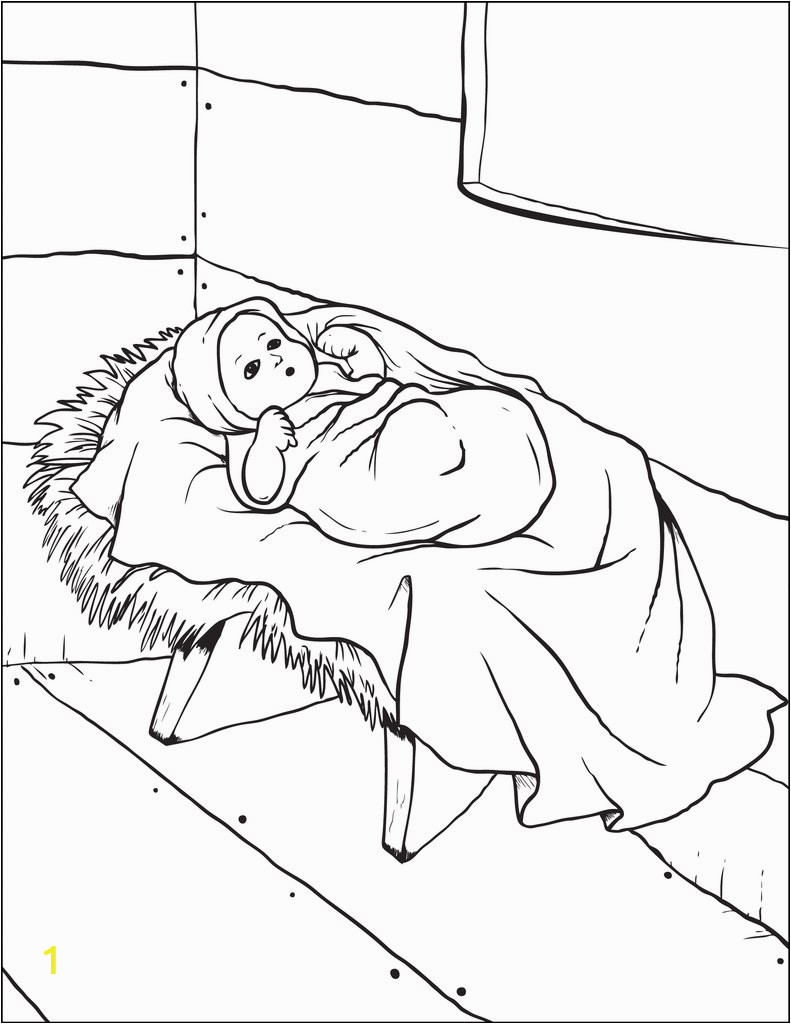 baby jesus in the manger coloring page a4699