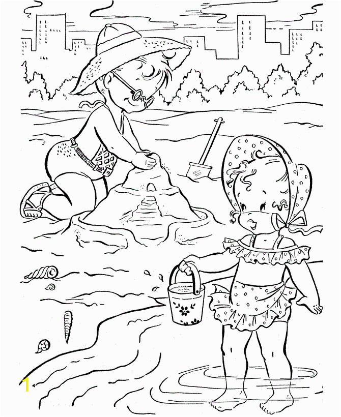 beach scenes coloring pages