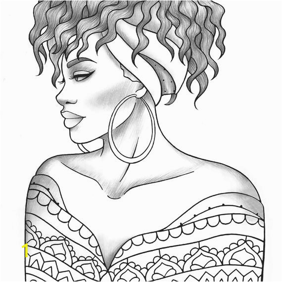 adult coloring page black girl portrait