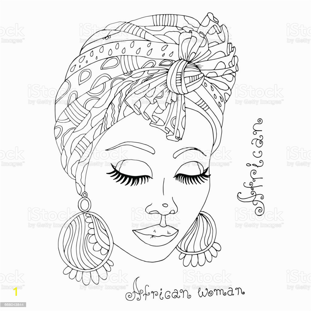 vector coloring portrait of a beautiful african girl in a scarf on her head gm