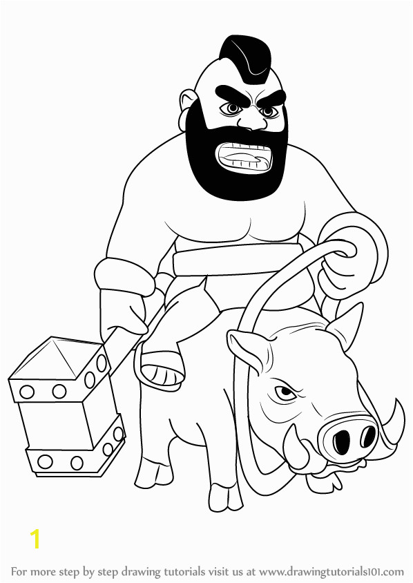 Clash Of Clans Coloring Pages Hog Rider Learn How to Draw Hog Rider From Clash Of the Clans Clash