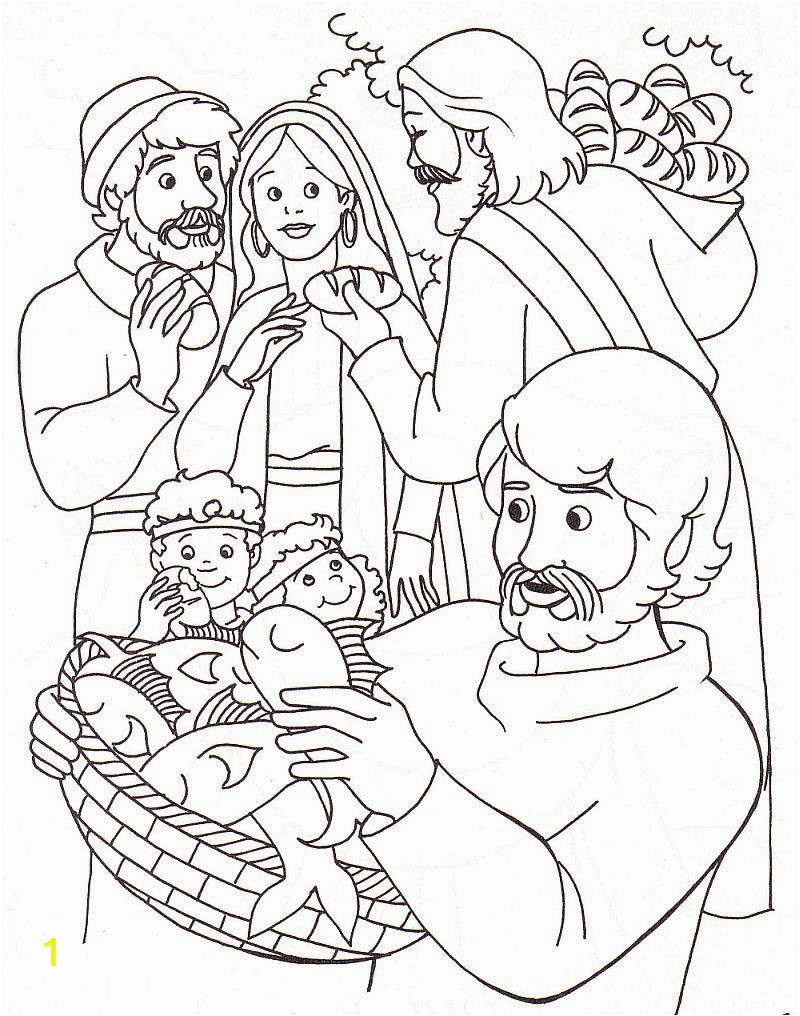 new jesus feeds five thousand coloring