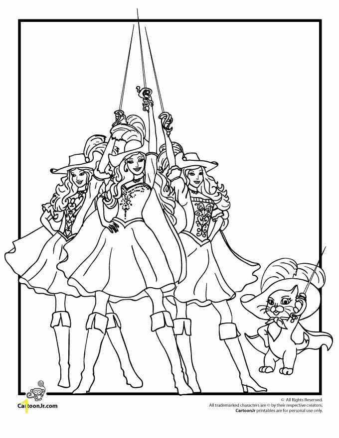 Coloring Pages Barbie and the Three Musketeers Barbie Three Musketeers Coloring Page