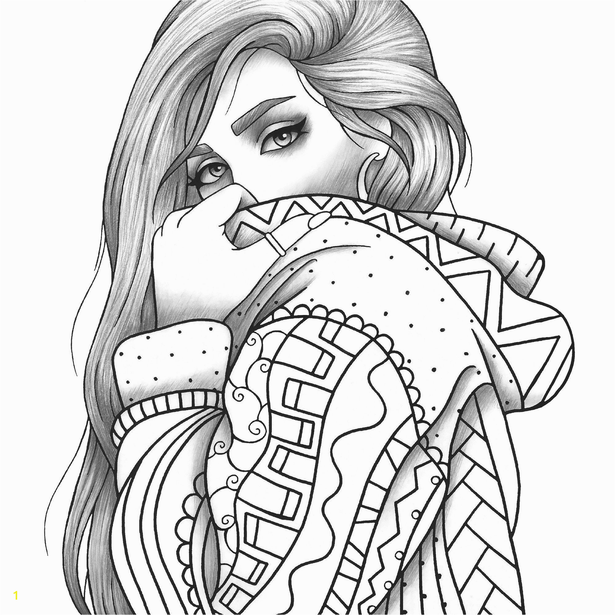 adult coloring page girl portrait and
