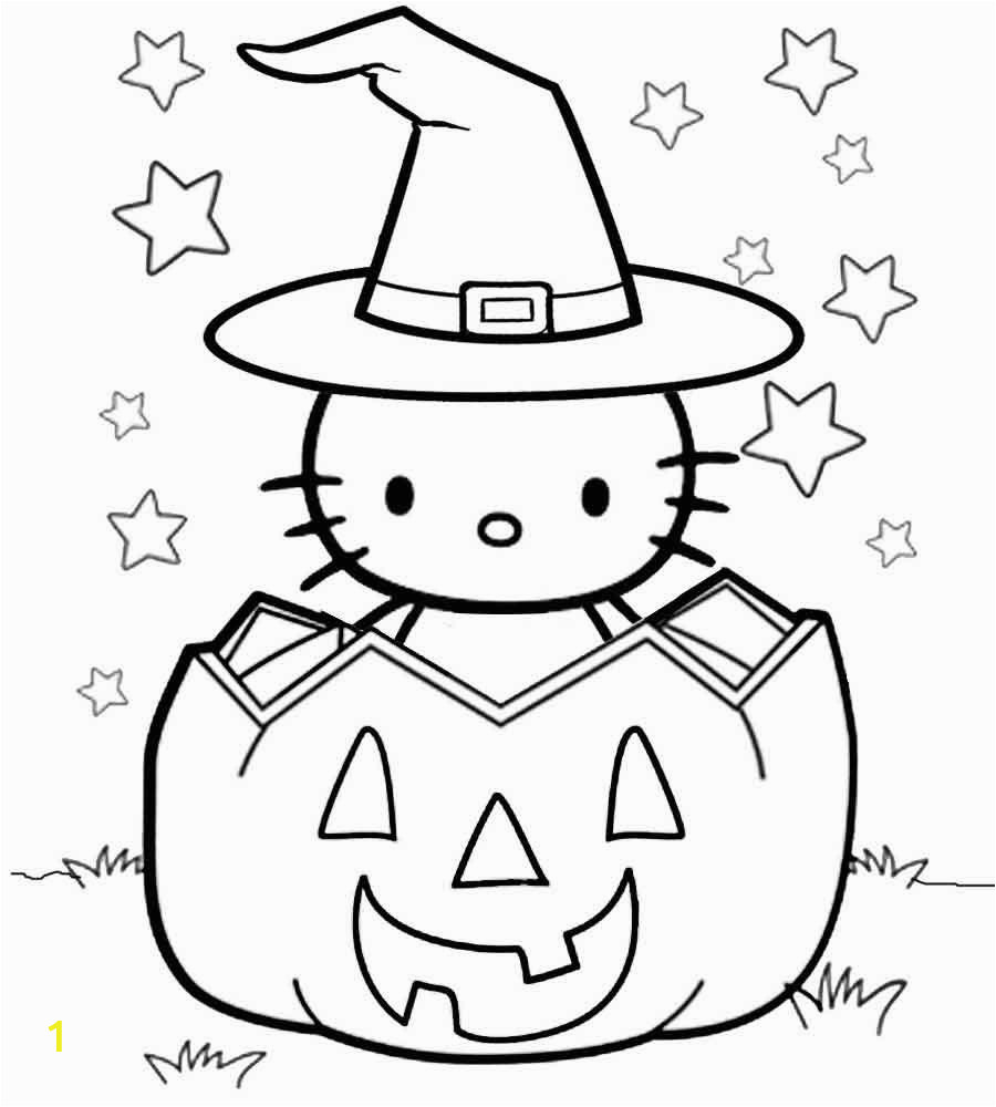 free hello kitty halloween coloring pages with pumpkin printable colouring to print for adults pictures