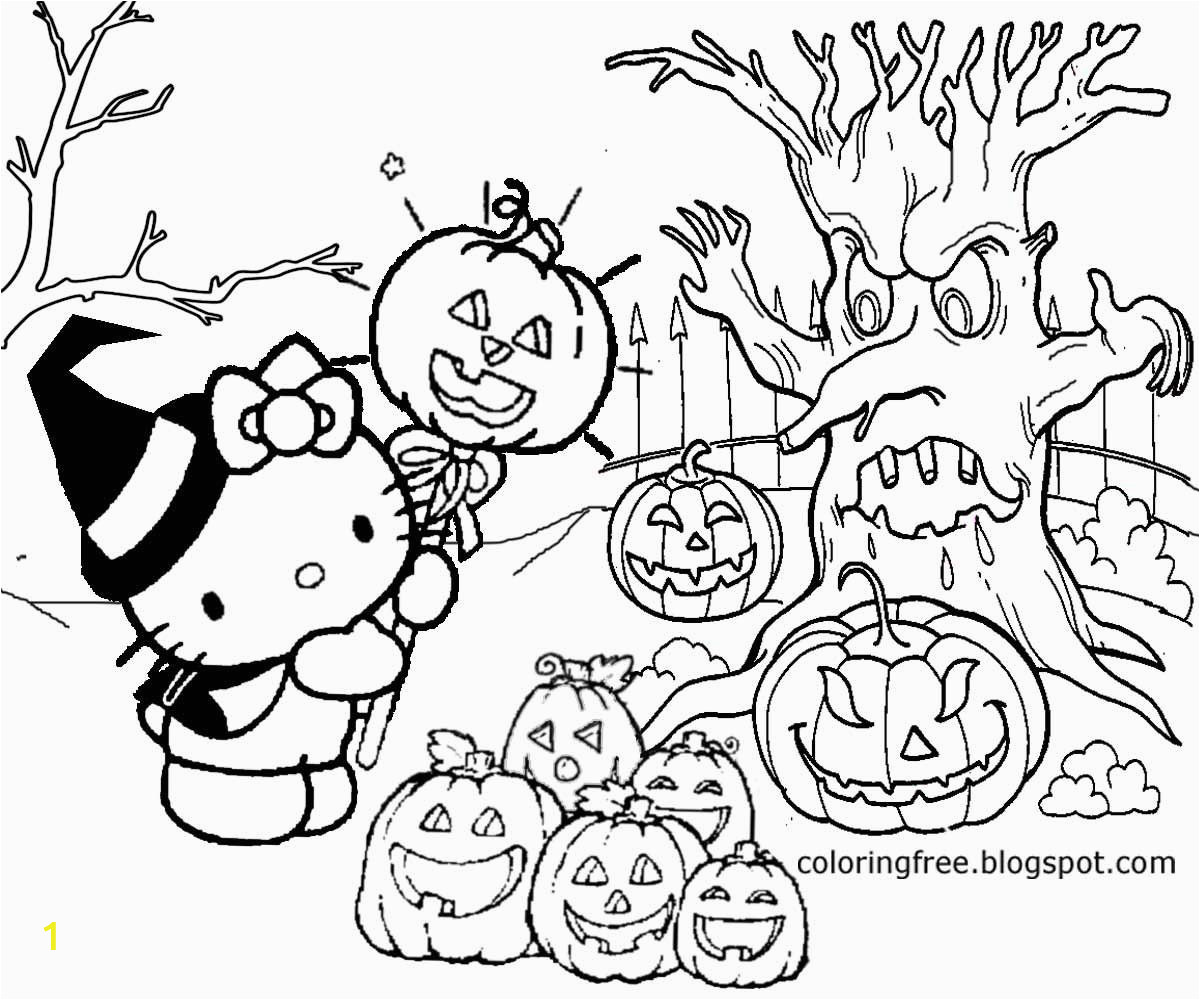 Hello Kitty Halloween Coloring Page part 1