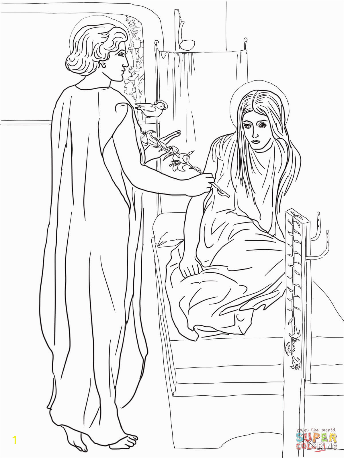 angel and mary coloring page