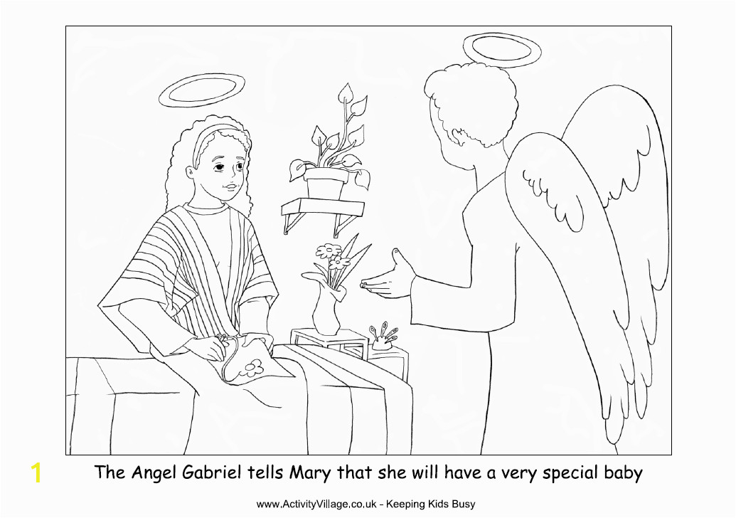 mary and the angel coloring page