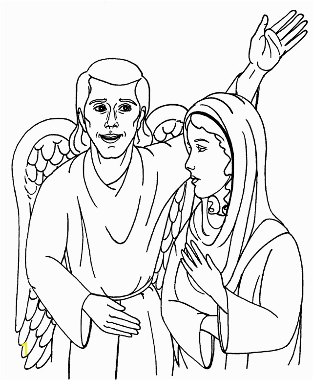 Coloring Pages Of Mary and the Angel Gabriel Mary and the Angel Gabriel Coloring Page