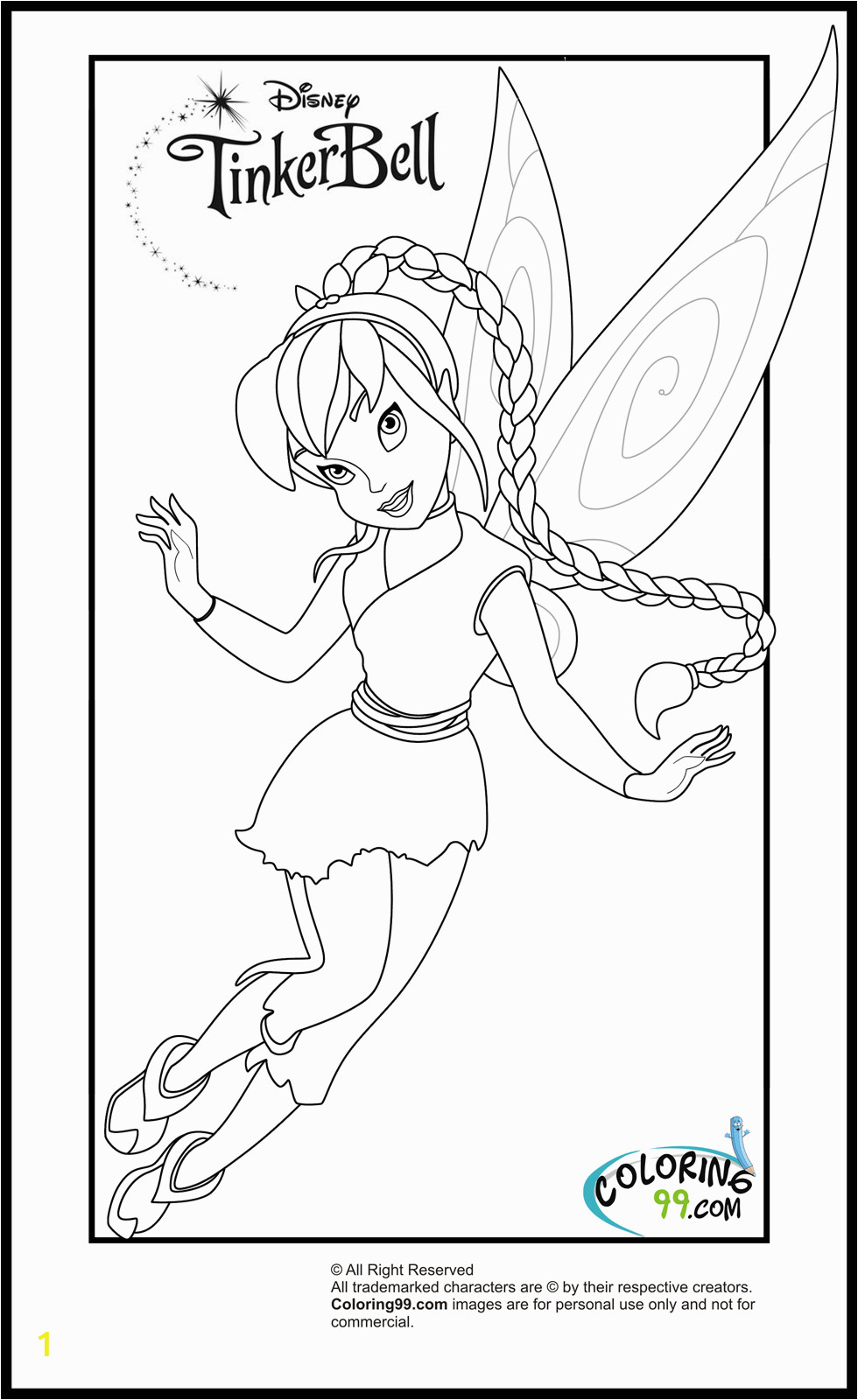 coloring pages of tinkerbell and her